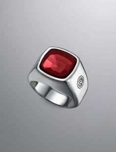 David Yurman Signet Rings, red garnet. ($1,500)