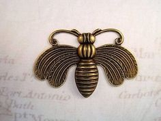 Large Oxidized Brass Plated Bee Stamping (1) - BORAT111 Jewelry Finding