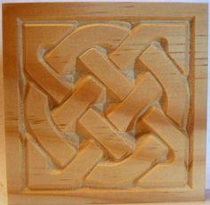 Carved Wood Celtic style Rosette Corner Block in Pine