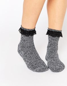 ASOS Mix Knit Sock With Lace Trim