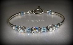 Bridal Party Gift Set of SIX: Light Sapphire Crystal Jewelry, Sapphire Blue Jewelry, Blue Crystal Bracelet, Bridesmaid Gift, Something Blue on Etsy, $161.95