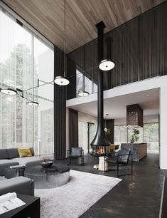Black decor can look cool, trendy and dramatic, but it can also look dark. Find inspiration for dark decor in this home tour tipped with chic colourful accents. Luxury Home Decor, Luxury Interior, Luxury Homes, 3d Max Vray, Futuristisches Design, Dark Interiors, Black Decor, Architect Design, Living Room Interior