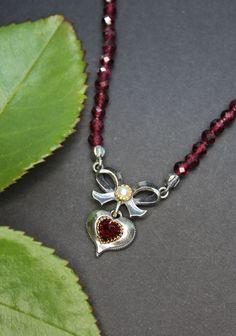 Trachtenschmuck Granatkette für Damen Pendant Necklace, Jewelry, Fashion, Rhinestones, Neck Chain, Handmade, Silver, Women's, Moda