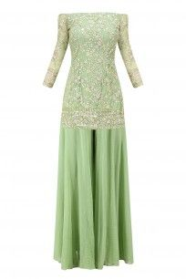 Leaf Green Sequins Handwork Kurta with Flared Pants #asthanarang #shopnow #ppus #happyshopping