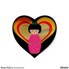 Asian Dolls Heart Sticker #Doll #Asian #Asia #Japan #Japanese #School #Heart #Sticker