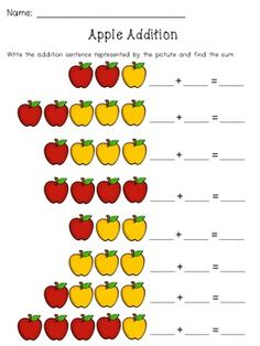 Apple Addition Pack - 14 pages of addition practice. Including writing addition sentences, story problems, add and color, ways to make 3, 4, 5, 6, 7, 8, 9, and 10 (one page each), and extra practice. Great for homework, a math center, morning work, etc.