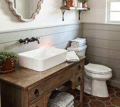 Finding the Perfect Antique Bathroom Vanity Unique Bathroom Sinks, Cheap Bathroom Vanities, Bathroom Ideas, Bathroom Interior, Bari, Dresser Vanity Bathroom, Powder Room Vanity, Timber Vanity, Upstairs Bathrooms