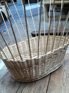 5 of 10 - washing basket being made - weave finished and wale in place Washing Basket, Laundry Basket, Basket Weaving, Wicker Baskets, Weave, Home Decor, Manualidades, Baskets, Interior Design