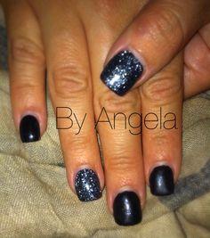 #black #nail #art #glitter #silver #acrylic #simple