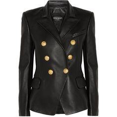 Balmain Black Leather Peaked Lapel Tailored Blazer Jacket (12.685 BRL) ❤ liked on Polyvore featuring outerwear, jackets, blazers, blazer, coats, black, blazer jacket, leather jackets, peak lapel blazer and gold button blazer