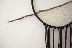 Handmade Lace and Sticks Boho Bohemian Decorative Wall Hanging Black Autumn Decor Dream Catcher Style