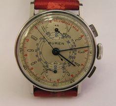 Vintage Buren Chronograph Watch Up Down Dials 1940'S   eBay