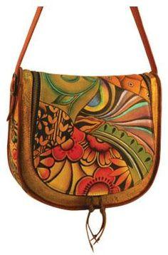 Anuschka Saddle Handbag. This shoulder purse is hand painted.