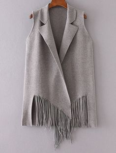 Fringed Knitted Lapel Waistcoat