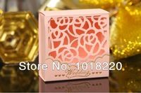 Suprimentos 100pcs frete grátis rosa elegante Cut-out Rose favor do casamento caixa / caixa dos doces / caixa casamento / Jardim