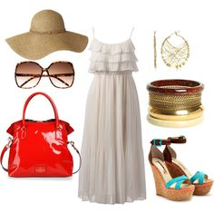 Off White Ruffled Long Summer Dress Outfit