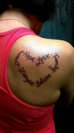 Heart Text Tattoo : wouldn't get those words. I'd have 'Do Rae Me Fa So La Ti Do' around my elbow, for my love of music