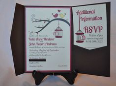 Birdcage Wedding Invitation Pocketfold  Love Birds - SAMPLE. $5.50, via Etsy.