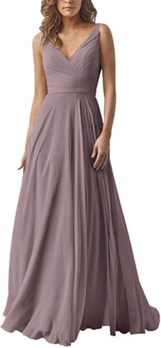 58bc8dd9e72e Yilis Double V Neck Elegant Long Bridesmaid Dress Chiffon Wedding Evening  Dress Plum US6 at Amazon Women s Clothing store
