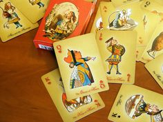 """Alice in Wonderland deck of playing cards is a Mediamorphosis project based on Lewis Carroll's book """"The Nursery Alice"""", illustrated by John Tenniel. The deck includes two jokers and it is presented in a matching tuck box. Custom Playing Cards, John Tenniel, Lewis Carroll, Jokers, Alice In Wonderland, Deck, Presents, Nursery, Money"""