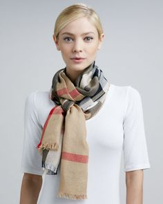 Lightweight Check Scarf, Camel by Burberry at Neiman Marcus.