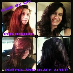 From Red to black and purple hair done by me!