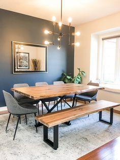 Wlanut live edge table with Rustix Studio Nova Base. #liveedgetable Live Edge Furniture, Furniture Design, Live Edge Table, Kitchen Decor, Nova, Dining Table, Collections, Base, Studio