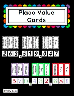 FREE!!!! These place value cards will help you teach and review place value concepts with your students.