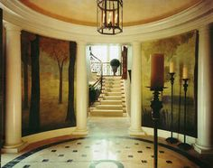 I may be partial, but this is a good example of how murals (if done well like this one) enhance interiors.