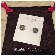 """Kate Spade Glitter Studs Sparkly glitter shines through the clear stones of these girly, party-perfect stud earrings. 1/2"""" square. Post back. 14k-gold or rhodium plate/epoxy. No Trades kate spade Jewelry Earrings"""