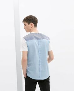 T-SHIRT WITH SHIRT-STYLE  BACK from Zara