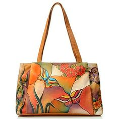 Anuschka Hand Painted Leather Large Shopper Handbag----GOT IT, GORGEOUS. GOT IT IN A DIFFERENT PATTERN THOUGH, SAME STYLE