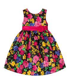 Black & Dark Pink Floral A-Line Dress - Toddler & Girls