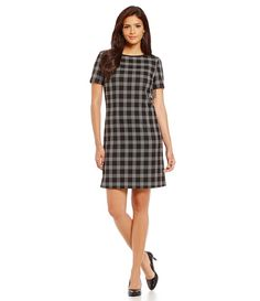 Windowpane shift dress/ work wear style/ office chic/ desk to dinner fashion/ business professional