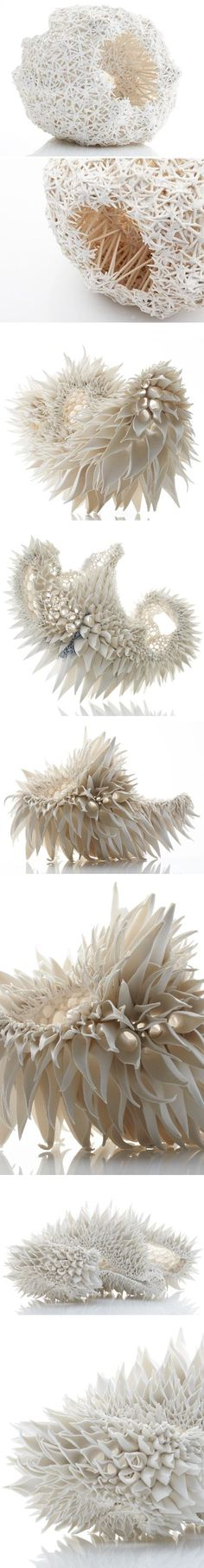 Whoa. Crazy, beautiful, organic ceramic pieces by Nuala O'Donovan, an artist based in Cork, Ireland. I am imagining that these photos do not do her work justice. I would love the chance to have a closer look, and actually hold one of these stunning objects in my hot little hands… very, very carefully, of course.