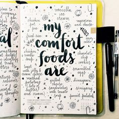 Instagram media pepperandtwine - When I don't have the time or energy to do a lengthy journal entry, making a list is a simple and fun alternative  I saw several comfort food cookbooks at Costco this weekend, which prompted me to think about my favorite comfort foods  #hobonichi #stationery #planner #filofax #diary #agenda #notebook #journal #journaling #journalingprompts #artjournal #artjournaling #lettering #typography #type #brushpen #brushlettering #handwritten #handlettering ...