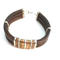 Handmade Leather & Metal Bracelet Good used condition. Jewelry Bracelets