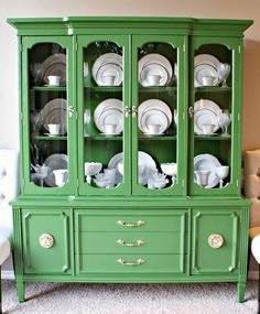 Behr's Pine Scent - beautiful green furniture- Also use water-based Minwax Polycrylic in the blue can on flat surfaces to help eliminate tackiness. It's ready to go after 24 hours or so! China cabinet by Dimples and Tangles.