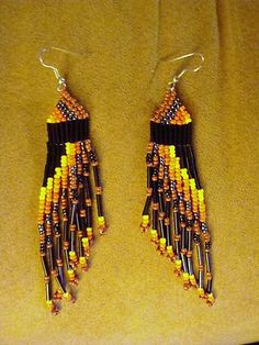 "Native American 4"" seed bead earrings. Bid $9.99"