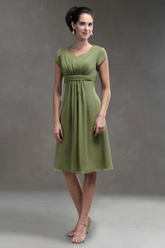 V-Neck Empire Waist Pleated Tea Length Chiffon Tank Kiwi Modest Bridesmaid Dresses BD0562 $95.00