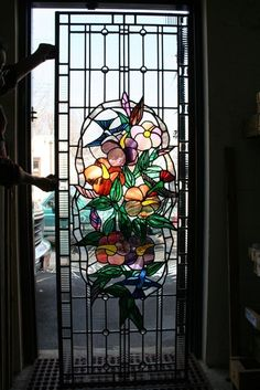 Hummingbirds Stained Glass Panel