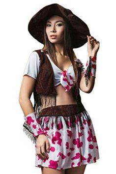 Adult Women Cowgirl Halloween Costume Wild West Rodeo Star Dress Up Role Play Tag