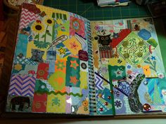 Using up all the little scraps. Journal Art, Journal Prompts, Art Journals, Scrapbook Pages, Scrapbooking, Diy And Crafts, Paper Crafts, Collage Book, Altered Book Art