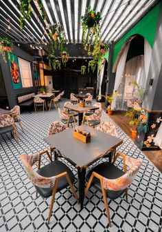 Terrace Restaurant With Fresh And Tropical Vibe | Intaglio Design Studio - The Architects Diary Terrace Restaurant, Restaurant Interiors, Dream Home Design, House Design, Booth Seating, Wall Mounted Light, Rustic Lamps, Wooden Textures, Tropical Vibes