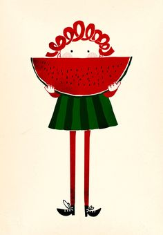 Melone girl Art Print by Robert Farkas