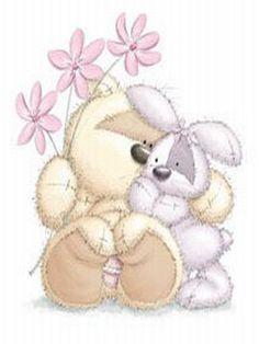 Enfeite de Porta - Ursinho e Coelhinho Abraçados com Flores