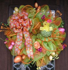 deco mesh easter wreath | Deco Mesh EASTER CHICK WREATH.