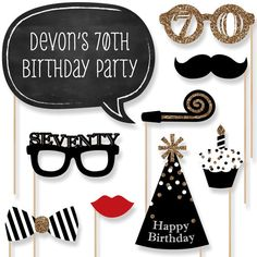 A fabulous photo booth has two things: a great backdrop and unique photo booth props. This set of 70th Birthday photo booth props will be the