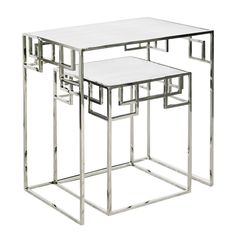 """MANDARIN N - Two piece nesting tables, nickel plated finish with antique mirror tops. IMENSIONS: 24""""W X 26""""H X 16""""D X SMALLER 15""""W X 20""""H X 15""""D""""DIA"""