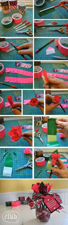 DIY duck tape rose pens!! So cute I made them myself using this how to and a video tutorial. Good Christmas present made with duck tape!!!